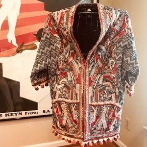 Beaded Tassled Blaket Coat Kimono Sleeves L